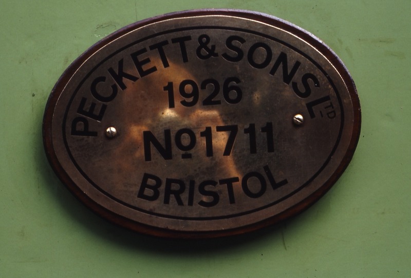 118274: Gembrook Pecket Makers PLate 1711-1926 on Locomotive