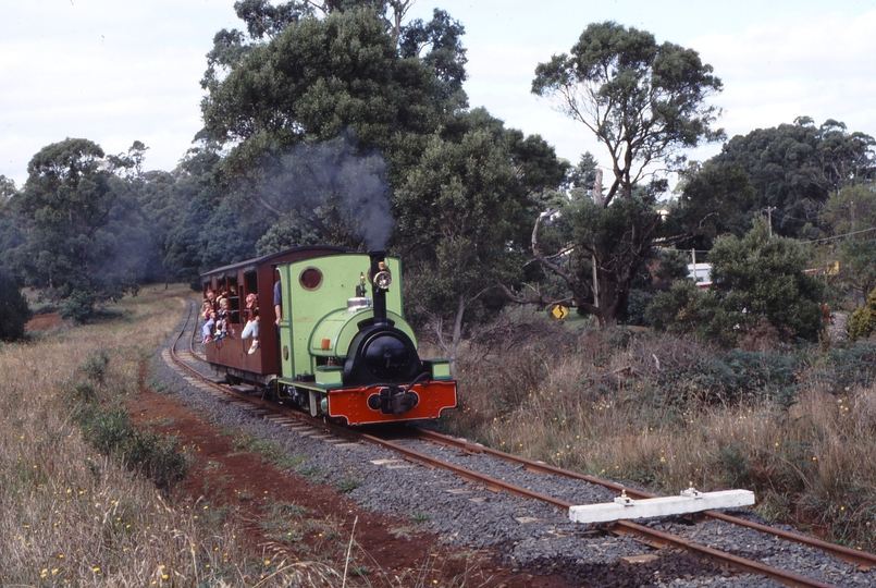 118278: Gembrook Main Road Level Crossing End of Track Up Passenger Peckett 1711